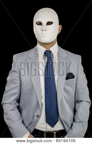 businessman in suit wearing mask, business power anonymous