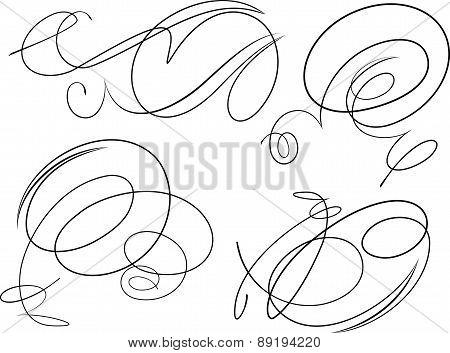 Set Of Four Decorative Swirls