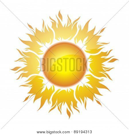 Decorative bright colorful symbol with a yellow sun. Vector illustration.