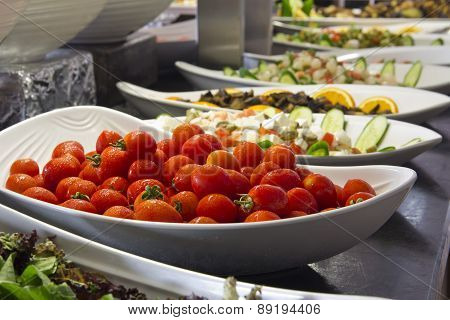 cherry tomatoes on open buffet hotel