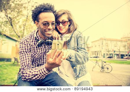 Happy Coouple With Mobile Phone