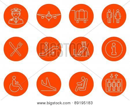 Airport line icons set.Vector