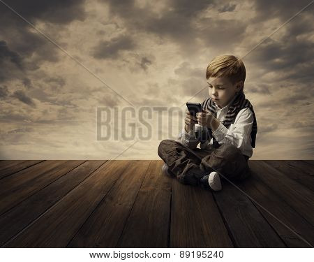 Child Using Mobile Phone, Little Kid Boy Playing Smart Telephone