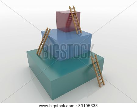 Three Cubes With Ladders, Goal 3D Concept