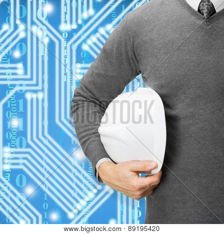 Engineer With Blue Digital Circuit On Background