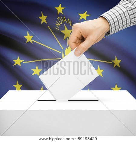 Voting Concept - Ballot Box With National Flag On Background - Indiana