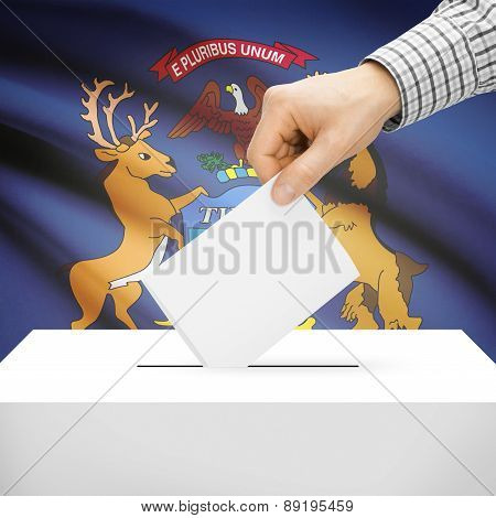 Voting Concept - Ballot Box With National Flag On Background - Michigan