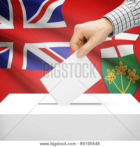 Voting Concept - Ballot Box With National Flag On Background - Ontario