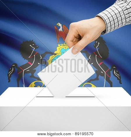 Voting Concept - Ballot Box With National Flag On Background - Pennsylvania