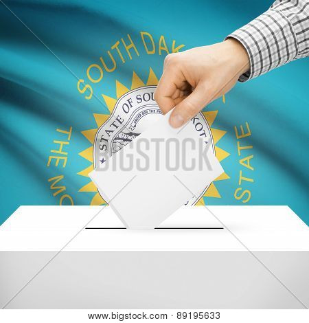 Voting Concept - Ballot Box With National Flag On Background - South Dakota