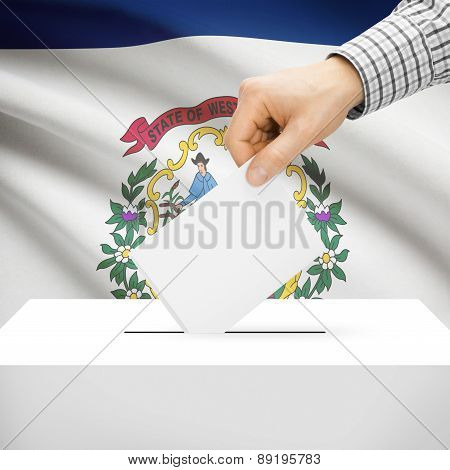 Voting Concept - Ballot Box With National Flag On Background - West Virginia