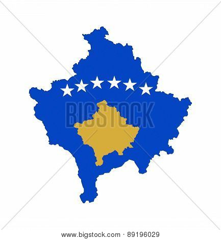 Kosovo Flag Map