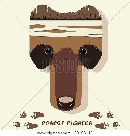 Vector Illustration Of Cartoon Bear