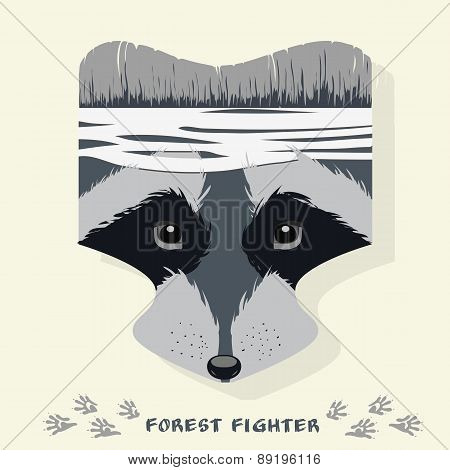 Vector Illustration Of Cartoon Raccoon