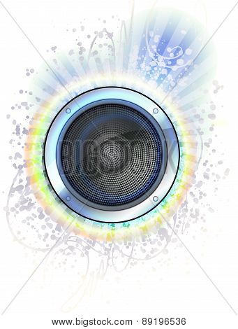 Loudspeaker On The Colorful Background With Rays - Abstract Disco Design.