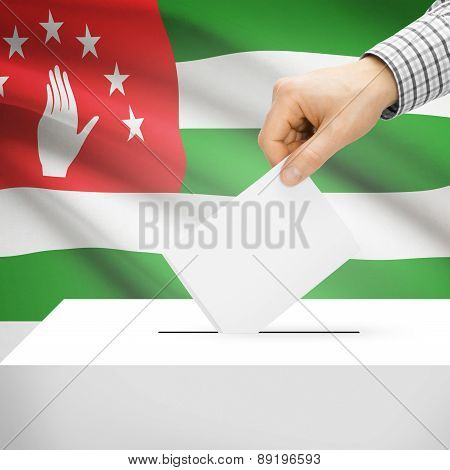 Voting Concept - Ballot Box With National Flag On Background - Abkhazia