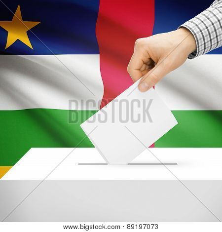 Voting Concept - Ballot Box With National Flag On Background - Central African Republic