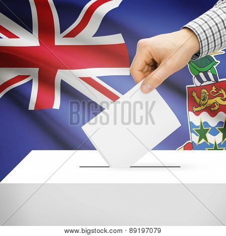 Voting Concept - Ballot Box With National Flag On Background - Cayman Islands