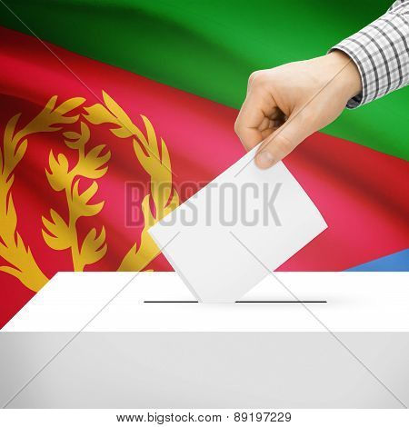 Voting Concept - Ballot Box With National Flag On Background - Eritrea