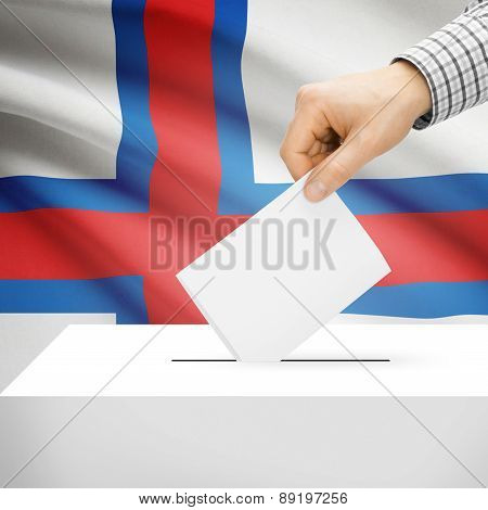 Voting Concept - Ballot Box With National Flag On Background - Faroe Islands