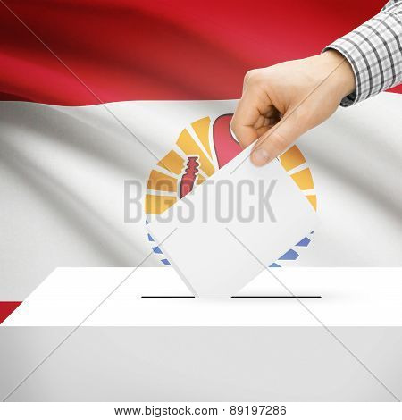 Voting Concept - Ballot Box With National Flag On Background - French Polynesia