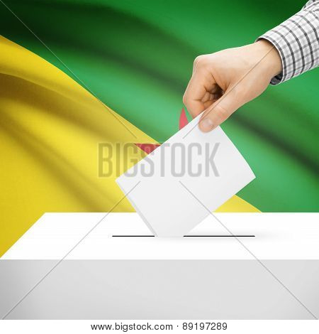 Voting Concept - Ballot Box With National Flag On Background - French Guiana