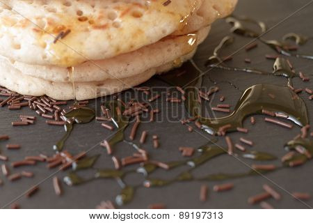 Pancakes With Honey And Maple Syrup