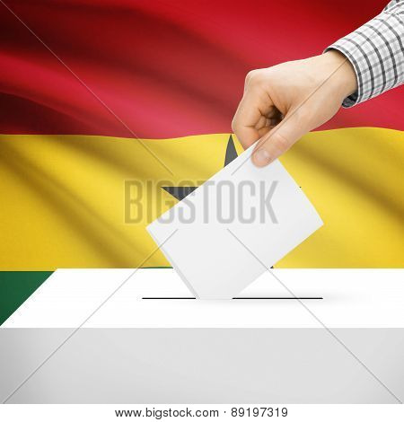 Voting Concept - Ballot Box With National Flag On Background - Ghana