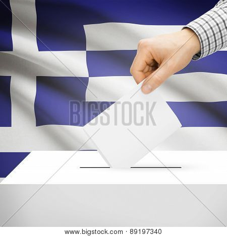 Voting Concept - Ballot Box With National Flag On Background - Greece