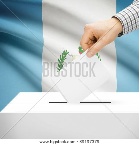 Voting Concept - Ballot Box With National Flag On Background - Guatemala