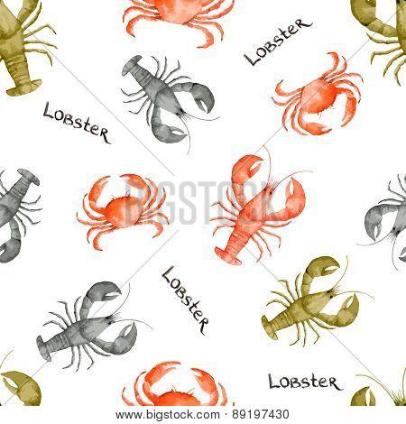 Watercolor Lobster Seamless Pattern