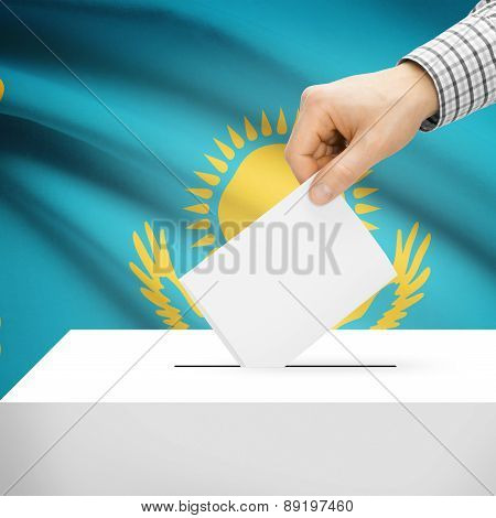 Voting Concept - Ballot Box With National Flag On Background - Kazakhstan