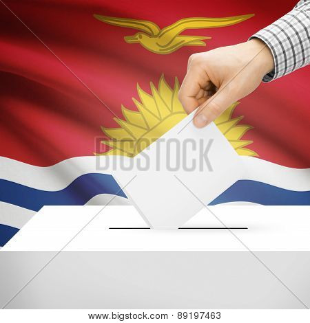 Voting Concept - Ballot Box With National Flag On Background - Kiribati