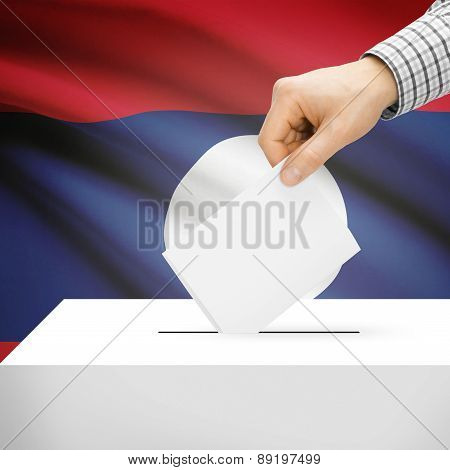 Voting Concept - Ballot Box With National Flag On Background - Laos