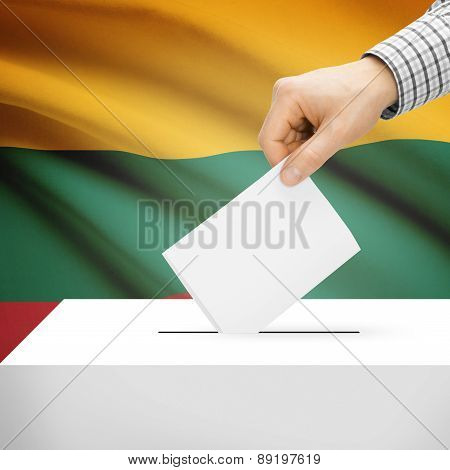 Voting Concept - Ballot Box With National Flag On Background - Lithuania
