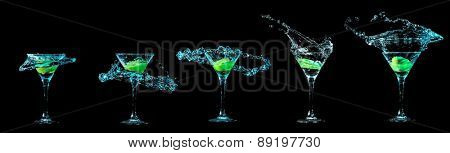 Cocktail collection isolated on black background