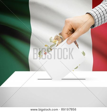 Voting Concept - Ballot Box With National Flag On Background - Mexico