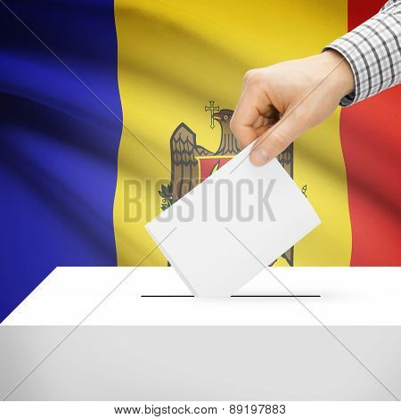 Voting Concept - Ballot Box With National Flag On Background - Moldova