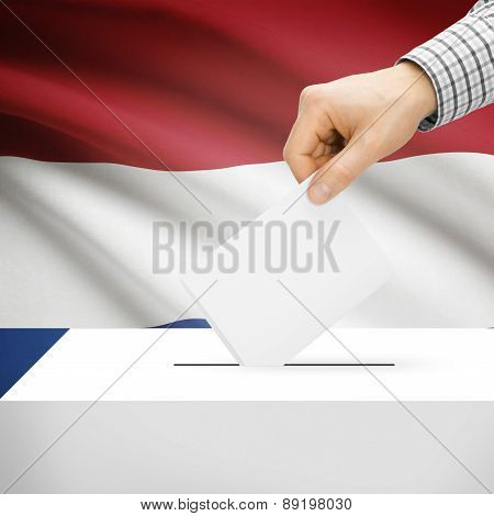 Voting Concept - Ballot Box With National Flag On Background - Netherlands