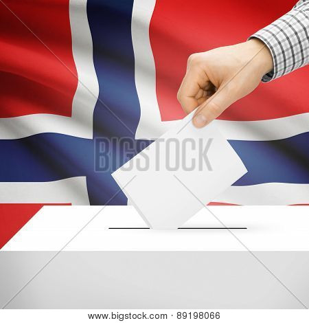 Voting Concept - Ballot Box With National Flag On Background - Norway