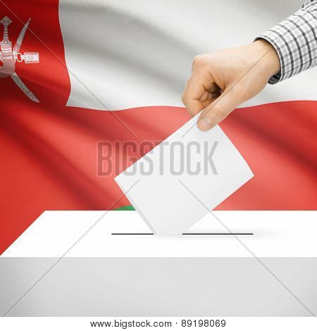 Voting Concept - Ballot Box With National Flag On Background - Oman