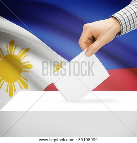 Voting Concept - Ballot Box With National Flag On Background - Philippines