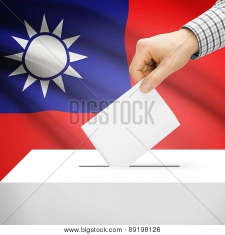 Voting Concept - Ballot Box With National Flag On Background - Republic Of Ireland