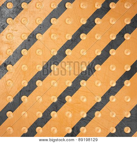 Striped Metal Background With Rivets