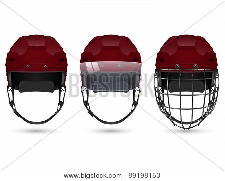 Maroon hockey helmet in three varieties