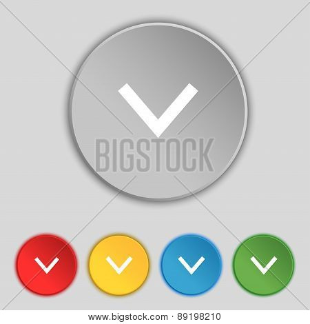 Arrow Down, Download, Load, Backup Icon Sign. Symbol On Five Flat Buttons. Vector