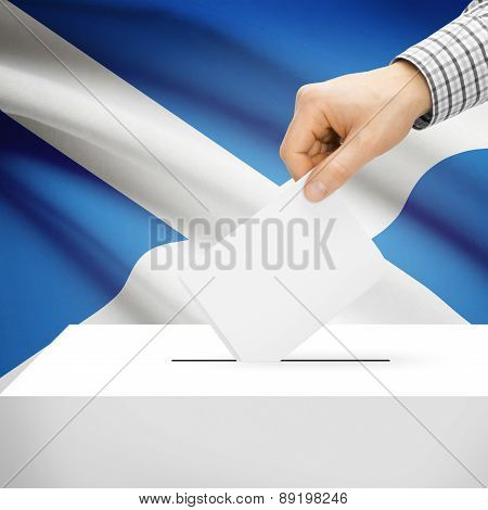 Voting Concept - Ballot Box With National Flag On Background - Scotland