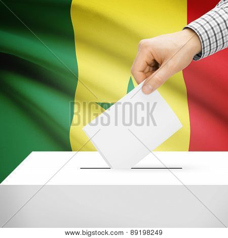 Voting Concept - Ballot Box With National Flag On Background - Senegal