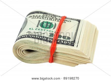 Stack Of One Hundred Dollars Banknotes Wrapped By Rubber On White Background