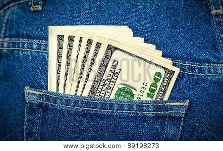 Banknotes Of One Hundred American Dollars In The Back Jeans Pocket